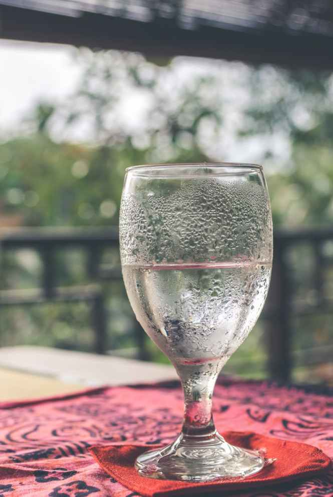 wine glass filled with water